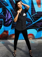 Button Down Baseball Jersey - Black with White Pin Stripe - Urban Empire