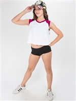 Cropped Short Sleeved Contrast Baseball Top