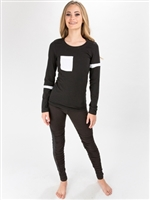 Long Sleeve T Shirt with Pocket & Stripes