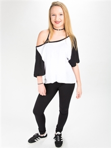 Off Shoulder Slouch Baseball Top